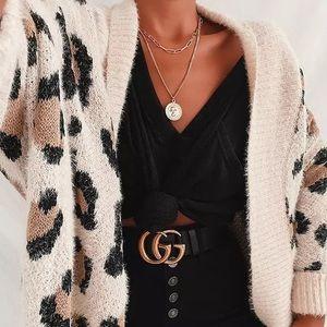 Oversized Fuzzy Boho Leopard Open Cardigan Sweater